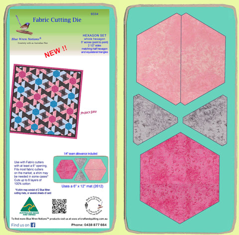 "Hexagon Set, (6034) whole Hex, 2 1/2"" sides matching half hexagon and equilateral triangles"