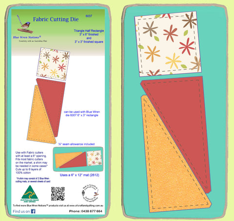 "Triangle Half  Rectangle 3""x 6"" finished & Square 3"" x 3"" finished - 6037"