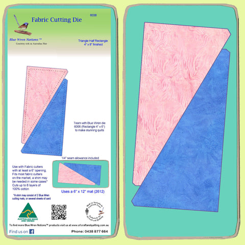 "Triangle Half Rectangle, 4"" x 8"" finished (6038), -mat included"