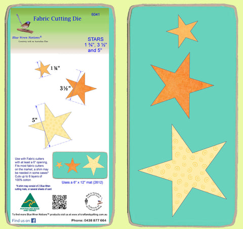 "Stars, 1.75"", 3.5"" and 5""   - 6041 - Mat included"