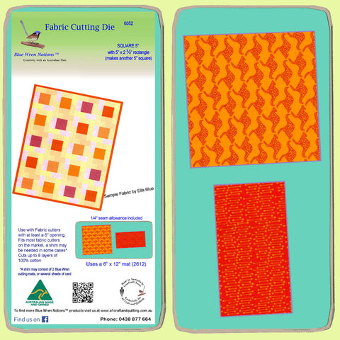 "Square 5"" cut with half square rectangle -  Combo -  6052 - includes cutting mat"