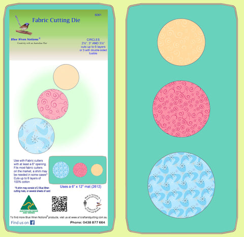"Circles 2½"",3""&3½"" Combo  - 6061 - Mat included"