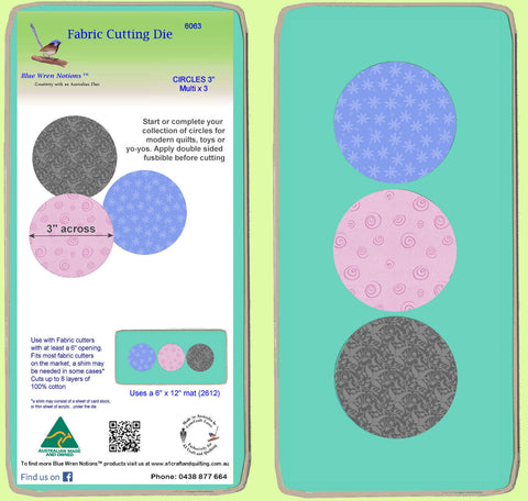 "Circles 3"" Multi x 3 - 6063 - includes mat"