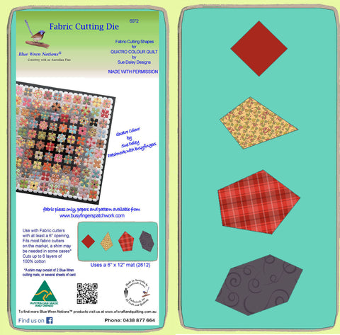 QUATRO COLOUR FABRIC CUTTING SHAPES- Sue Daley designs - 6072