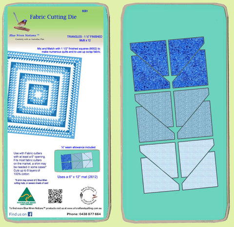 "Triangles, Half Square, 1 ½"" finished, Multi x 12  - 6081a- Mat Included"