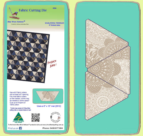 "Equilateral Triangle 4"" finished sides, 3 on die - 6094 - includes cutting mat"