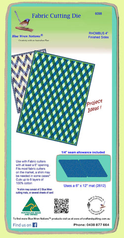 "Rhombus/Diamond 4"" finished sides - 6098 - includes cutting mat"