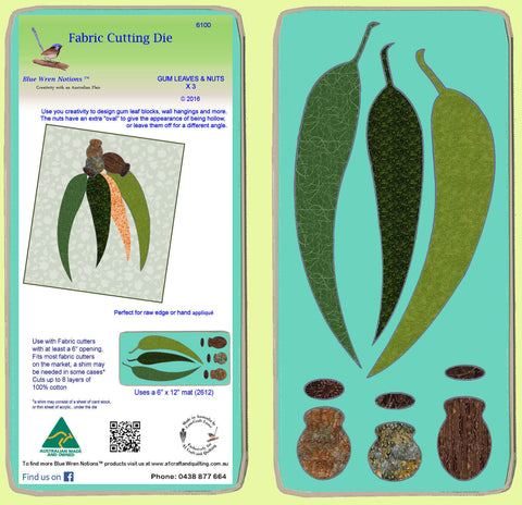 Gum Leaves and Gum Nuts x 3 - Mat included - 6100