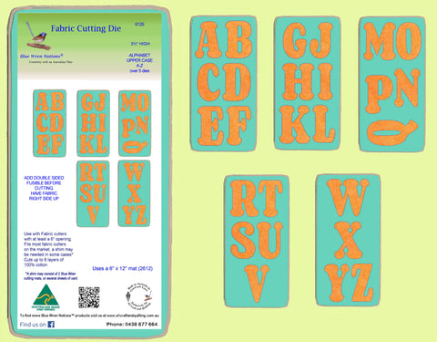 "Alphabet- upper case- set of 5 dies, 3½"" high,  6126(abcd and e) also available separately"