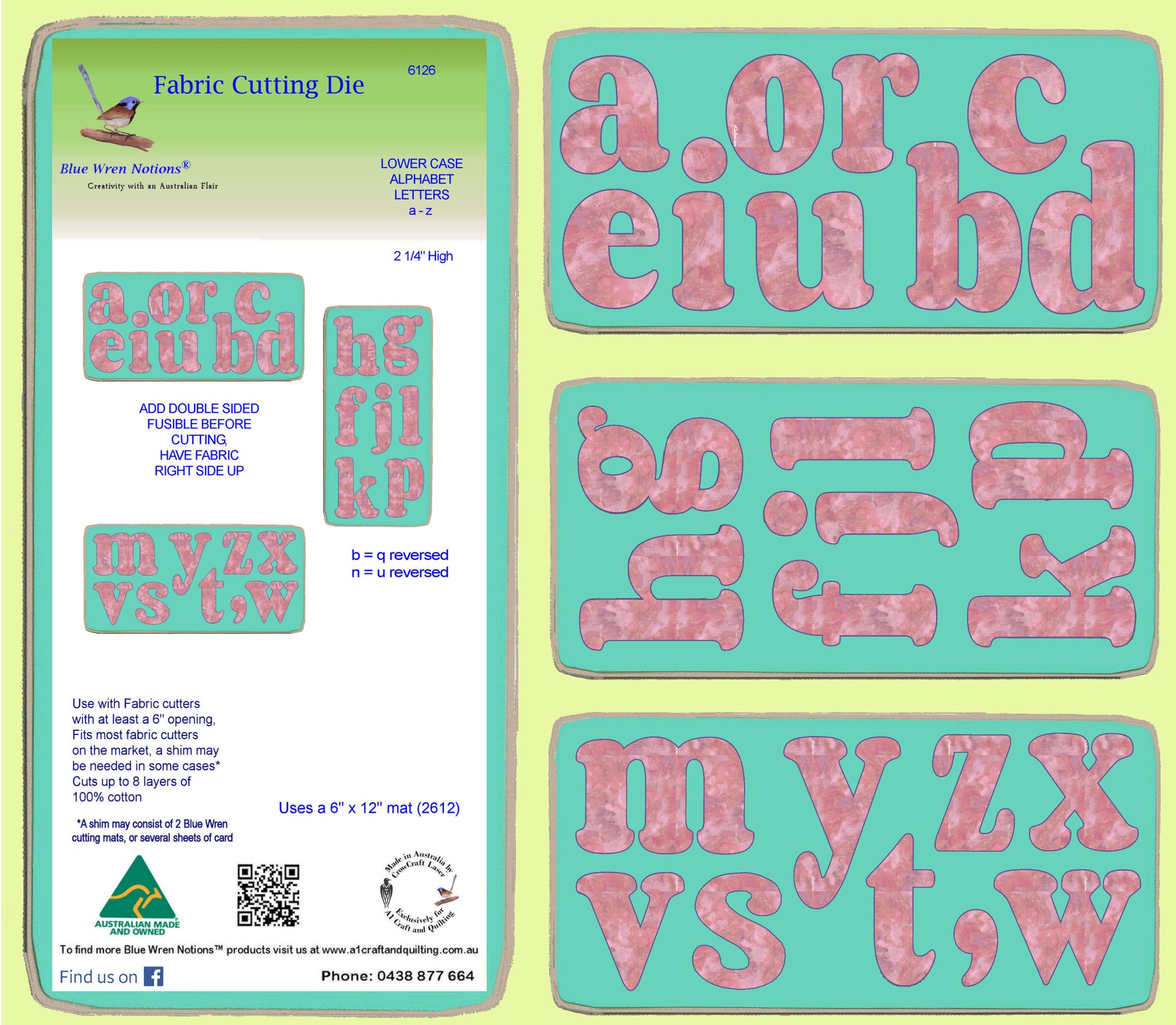 Alphabet- Lower case- set of 3 dies, 6128(a,b and c)