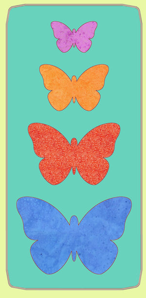 "Butterflies 2"", 3"", 4"" and 5"" wide - 6132 - Mat Included"