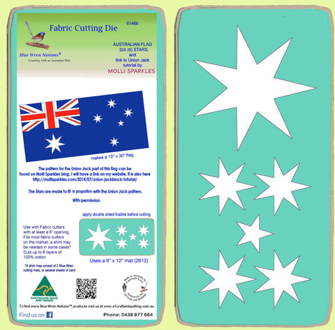 Australian Flag Stars x 6 stars on die - 6146b - Mat Included