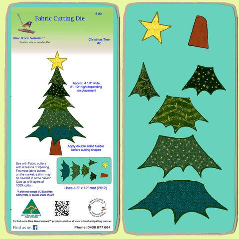 Christmas Tree #2- 6151 - Blue Wren Fabric Cutting Die, includes mat