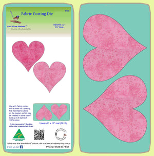 Hearts x 2 - 6159 - Blue Wren Fabric Cutting Die, includes mat