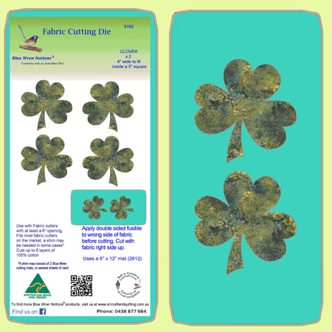 "Clover leaves, 4"" across x 2 - 6182 - Mat included"
