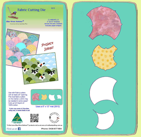 "Clamshells - 6210 - 2"" and 3"" across arch, paper shape included- mat included"