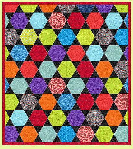 "Equilateral Triangles 2.2"" finished sides, combines with 2 ½ sided (cut) hexagon - Multi x 6 (6230)"