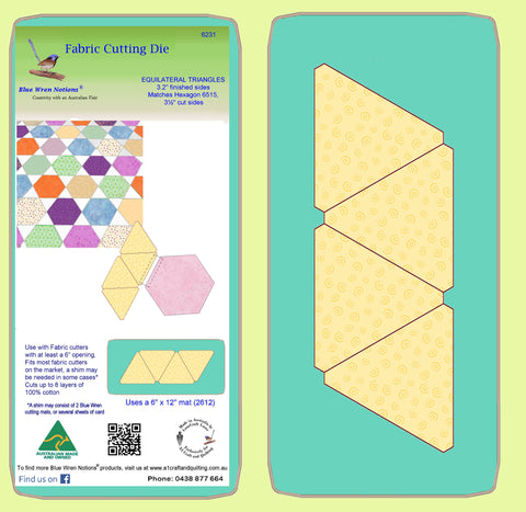 "Equilateral Triangles 3.2"" finished sides, 4 on die - 6231 - includes cutting mat"