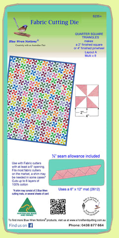 "Quarter Square triangles, 2"" finished block - 6235a - Mat Included"
