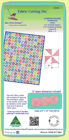 "Quarter Square triangles, 2"" finished block - 6235b - Mat Included"