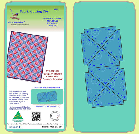 "Quarter Square triangles, 2½"" finished block Alternate Layout - 6236b - Mat Included"