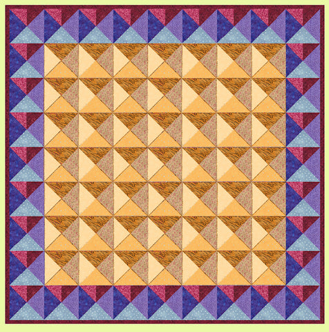 "Quarter Square triangles, 3"" finished block Alternate Layout - 6237b - Mat Included"