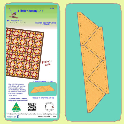 "Quarter Square triangles, 3"" finished block - 6237a - Mat Included"