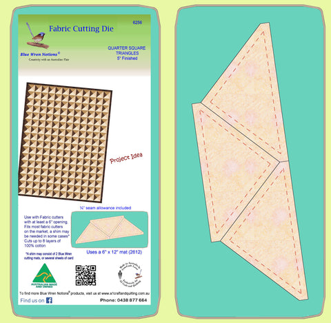 "Triangles, Quarter Square, 5"" finished block - 6256 - Mat Included"