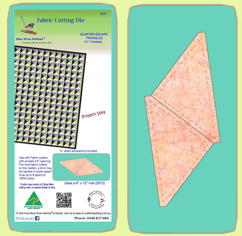 "Quarter Square triangles, 5½"" finished block - 6257 - Mat Included"