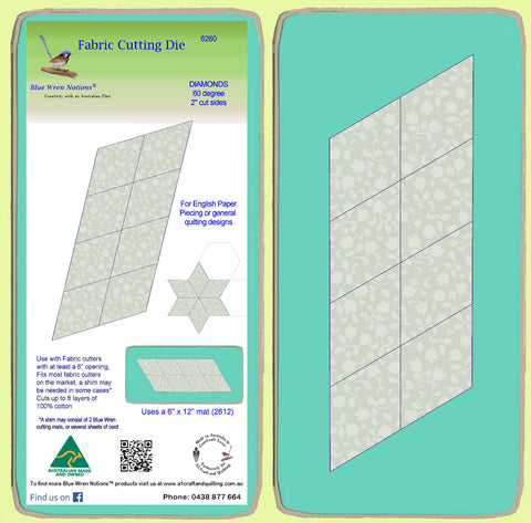 "Diamonds, 60 degree, 2"" cut sides x 8 - 6260 - includes cutting mat"