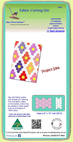 "Hexagons ½"" finished sides - 1/4"" seam allowance - Paper and Fabric shapes - 6266 - includes cutting mat"