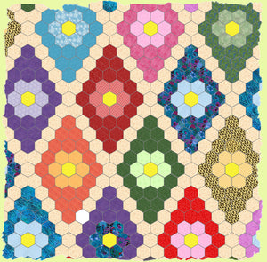 "Hexagons 3/8"" finished sides - 1/4""seam - Paper and Fabric shapes - 6265 - includes cutting mat"