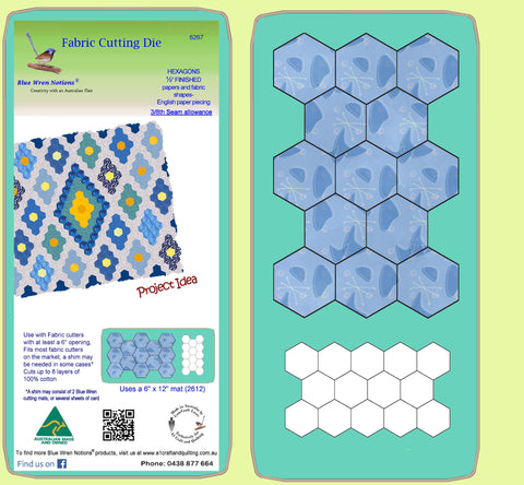 "Hexagons ½"" finished sides - Paper and Fabric shapes - 6267 - includes cutting mat"