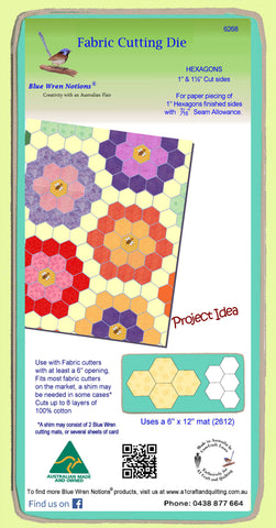 "Hexagons 1"" finished sides - Paper and Fabric shapes - 6268 - includes cutting mat"