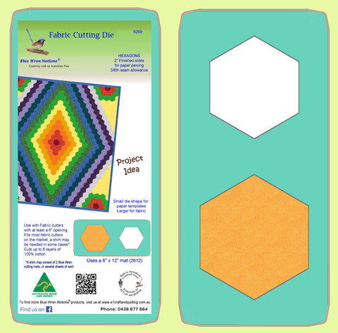 "Hexagons 2"" finished for paper piecing 3/8"" seam - 6269 - with mat"