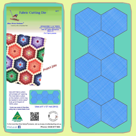 "Hexagons 1 7/16th inch sides, to finish at 1"", paper pieced -  6271 - includes cutting mat"