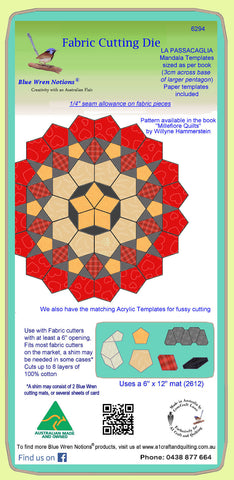 La Passacaglia Mandala Templates - 3cm base measurement- Includes paper template dies - 6294, includes cutting mat