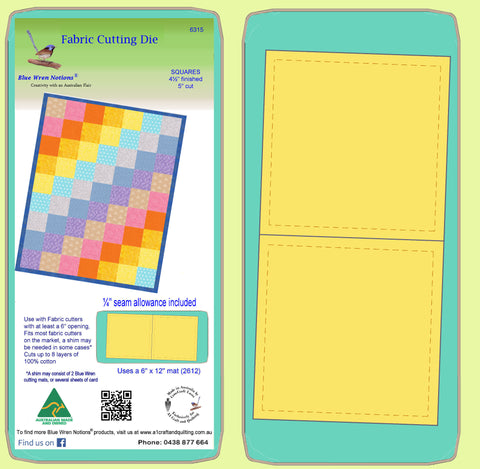 "Square 4½""finished - 5"" Cut - Multi x 2 - 6315 - includes cutting mat"