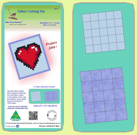 "Squares ¾""cut & 1"" cut Combo - Multi 25 & 20 - 6317 - Includes cutting mat 2612"