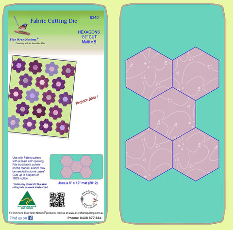 "Hexagons 1½"" cut sides - 1"" finished sides - 6340 - includes cutting mat"