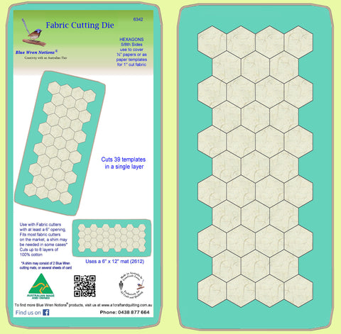 Hexagons 5/8 inch cut sides -  6342 - includes cutting mat