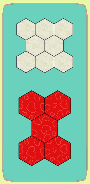 "Hexagons 3/4"" finished sides - 1/4""seam - Paper and Fabric shapes - 6343 - includes cutting mat"