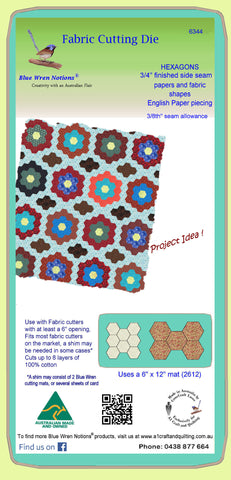 "Hexagons 3/4"" finished sides - 3/8""seam allowance - Paper and Fabric shapes - 6344 - includes cutting mat"