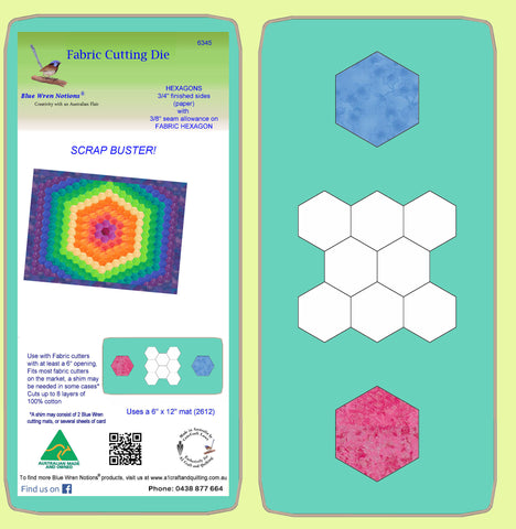 "Hexagons 3/4"" cut sides (paper) - 3/8""seam for Fabric shapes - 6345 - includes cutting mat"