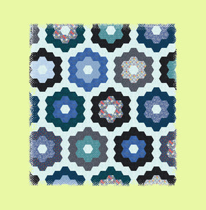 "Hexagons 1½"" finished sides, paper and fabric pieces, ¼"" seam allowance - 6347 - includes cutting mat"