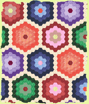 "Hexagons, 1"" finished sides - fabric cuts with ¼"" seam allowance  6349 - includes cutting mat"