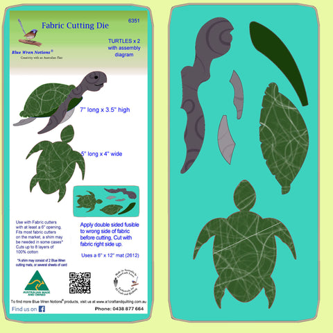 "Turtles x 2 - 7"" x 3½"" & 4"" x 5"" - 6351 - Mat included"