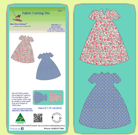 Dresses x 2, fit on a 6 inch finished block - 6352 - Mat included