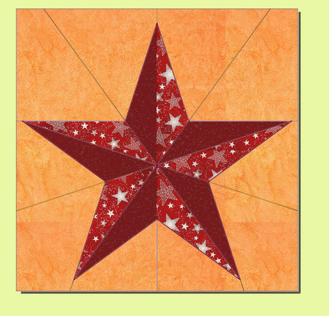 "Five Point 3D Star - 6363  (8"" finished block) - Mat included"