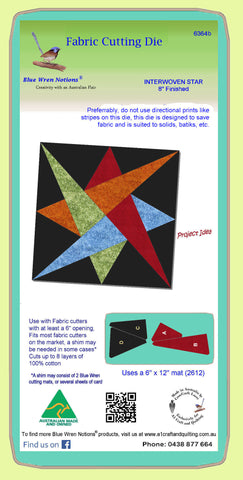 "Interwoven Star 8"" finished - 6364b   - Do not use with directional prints. Mat and clear cover included"